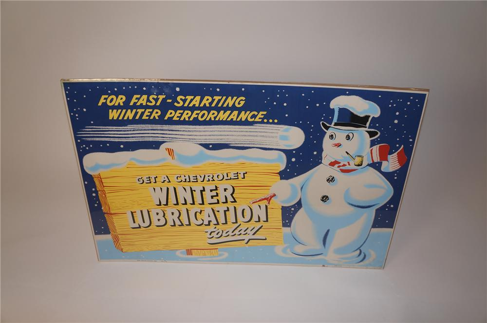 "Good lookng 1954 Chevrolet service department ""Winter Lubrication"" display poster - Front 3/4 - 139626"