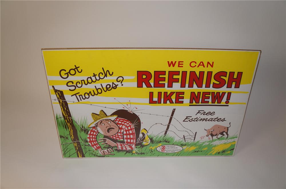 "Fabulous 1961 Chevrolet Garden Maintenance ""Refinish Like New"" service department display poster. - Front 3/4 - 139628"