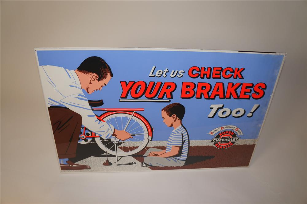 "Colorful 1964 Chevrolet Super Service ""Let Us Check Your Brakes"" service department display poster. - Front 3/4 - 139629"