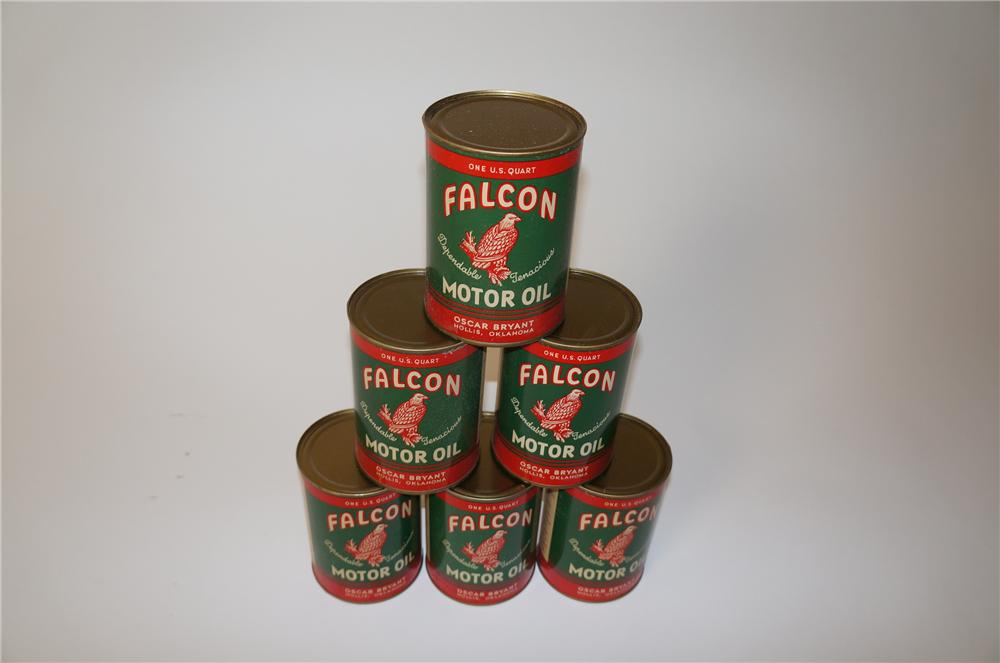 Choice lot of six 1940s Falcon Motor Oil metal quart cans with nice graphics. - Front 3/4 - 139631