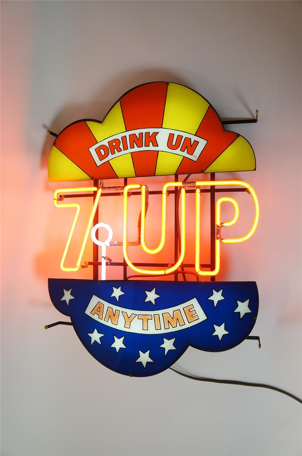 "Rare 1960s 7-up Drink Un - Anytime"" neon light-up soda fountain sign.  Unusual with Peter Max-esque graphics. - Front 3/4 - 139633"