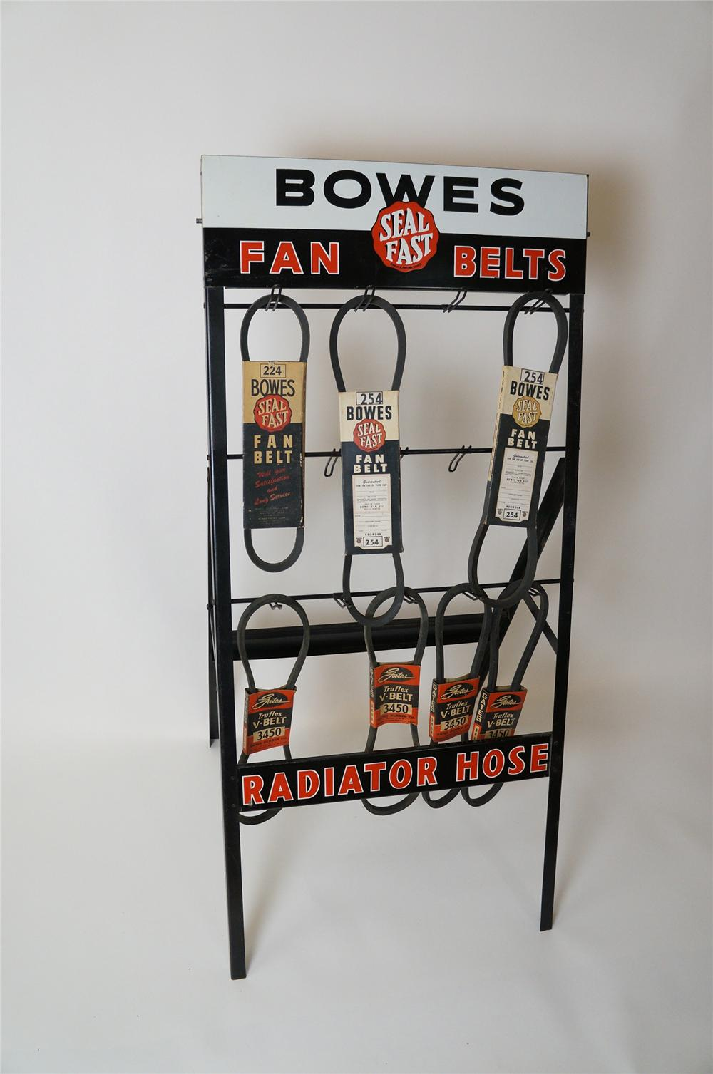 1940s Bowes Seal Fast Fan Belts-Radiator Hose automotive garage metal display with original belts attached. - Front 3/4 - 139634