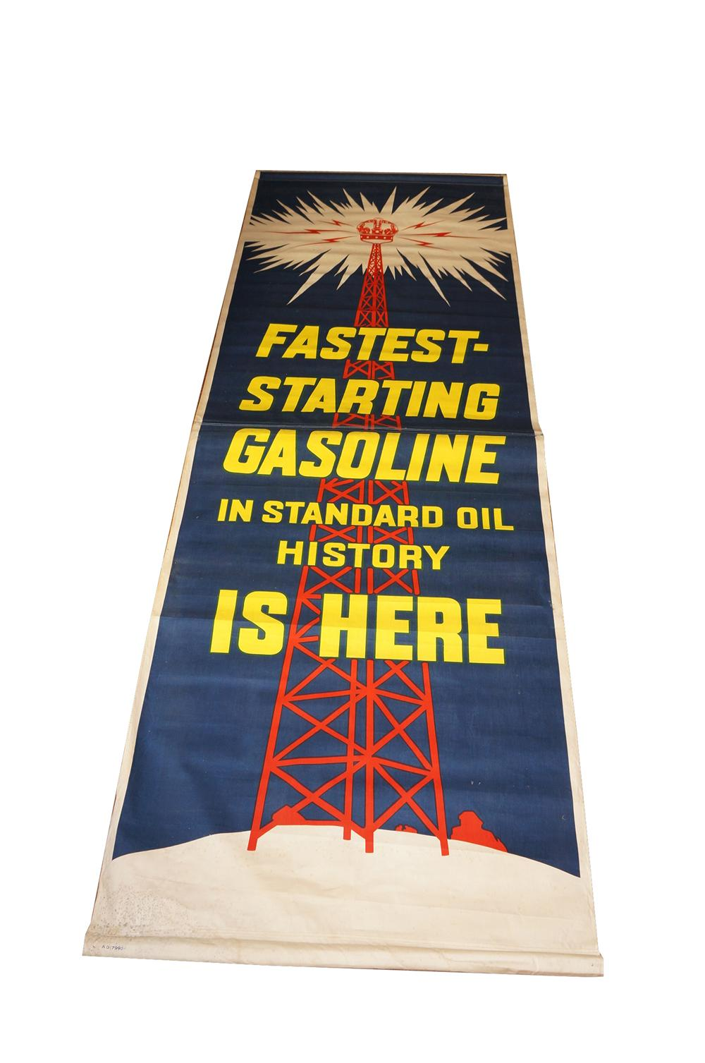 "1930s Standard Oil Red Crown Gasoline ""Fastest Starting Gasoline in Standard History"" over-sized canvas banner. - Front 3/4 - 139646"