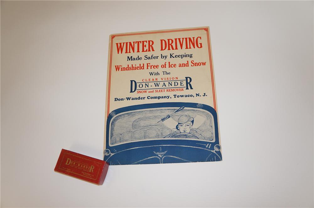 """1930s Don Wander Winter Driving """"Clear Vision Snow and Sleat Remover"""" automotive garage cardboard - Front 3/4 - 139655"""