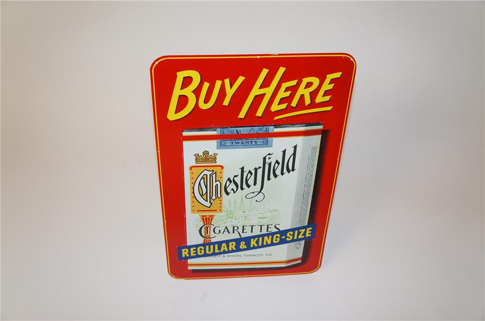 "N.O.S. 1950s Chesterfield ""Buy Here"" cigarettes tin sign with six pack graphic. - Front 3/4 - 139658"