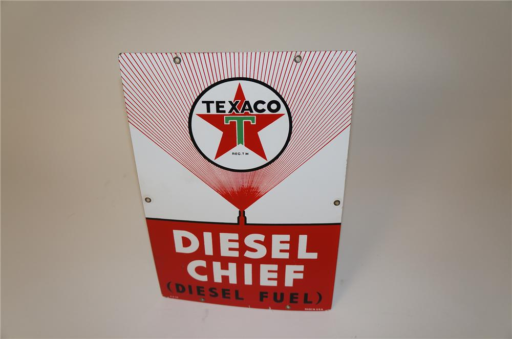 Scarce 1958 Texaco Diesel Chief Diesel Fuel single-sided porcelain gas pump sign with injector graphics. - Front 3/4 - 139660