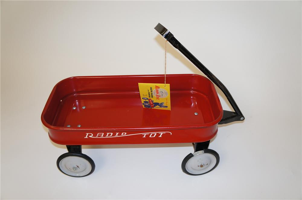 "Cute 1950s Radio Flyer ""Radio Tot"" red toy pull wagon.  Found unused. - Front 3/4 - 139662"