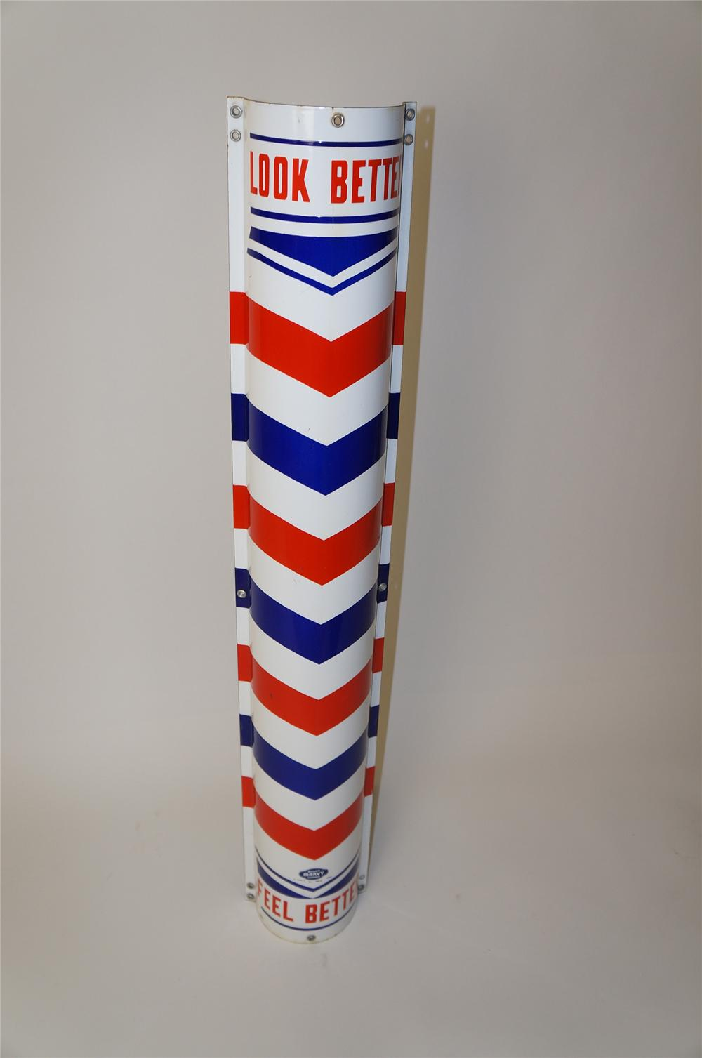 "Very interesting 1950s Marvy porcelain Barber Shop ""Look better-Feel Better"" pole sign. - Front 3/4 - 139663"