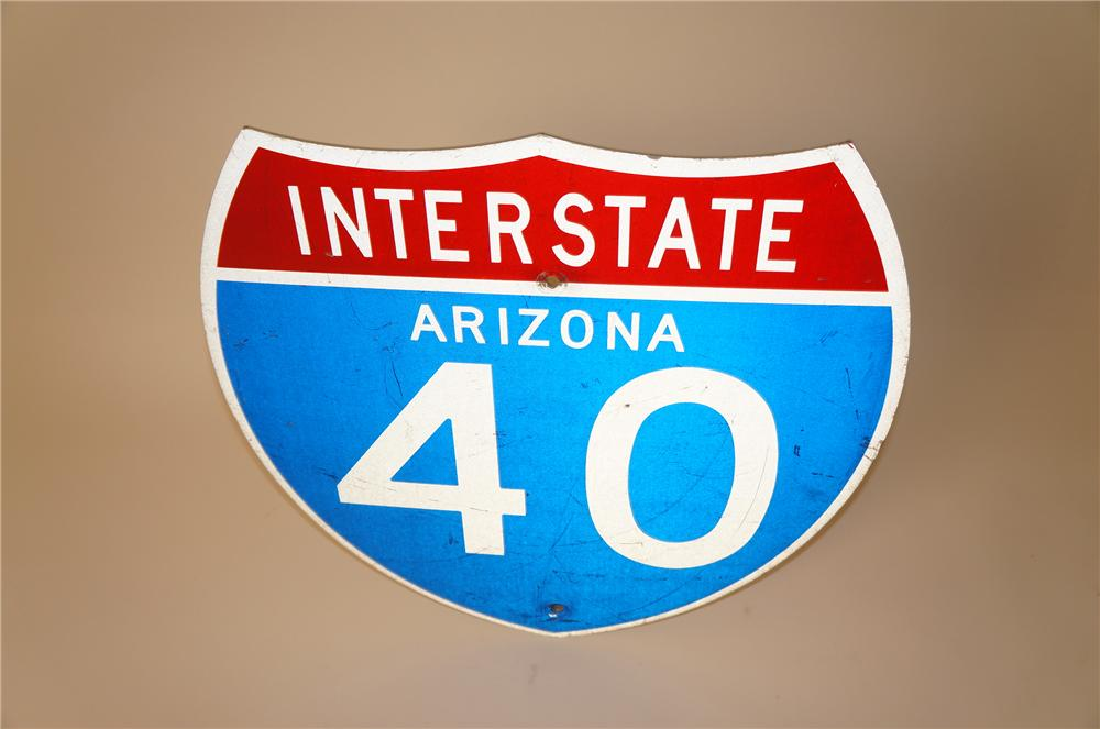 Vintage Arizona Interstate 40 metal highway road sign. Presents well. - Front 3/4 - 139664