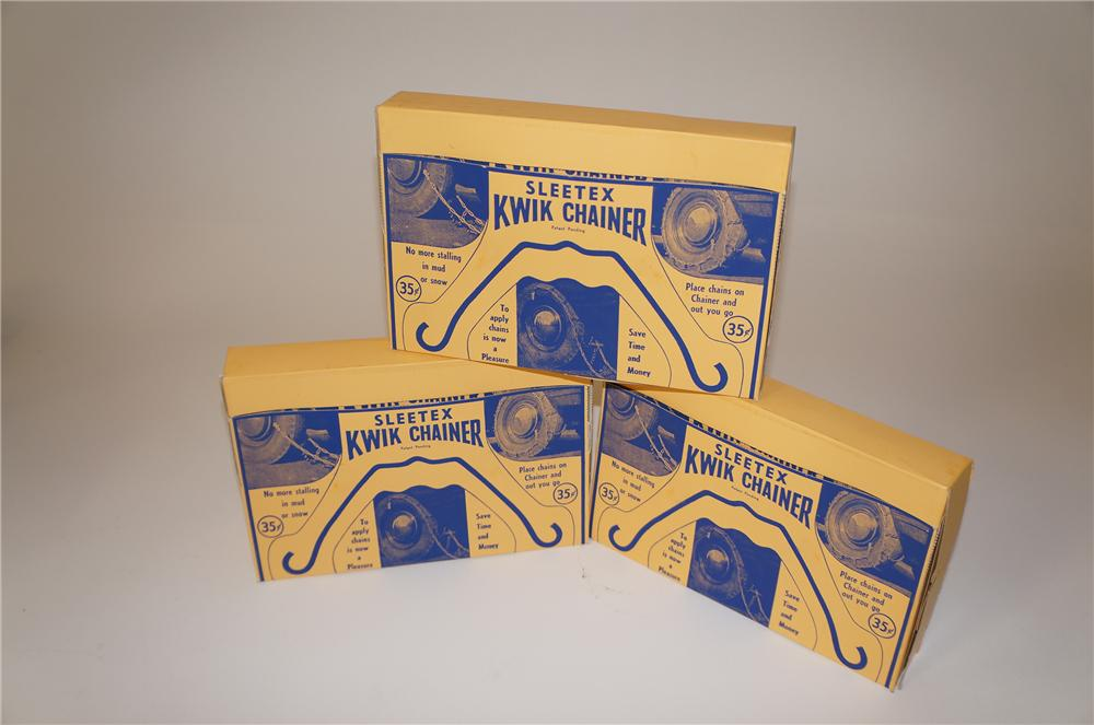 1930s Sleetex Kwik-Chainer automotive tire chains still in the original counter-top display boxes. - Front 3/4 - 139667