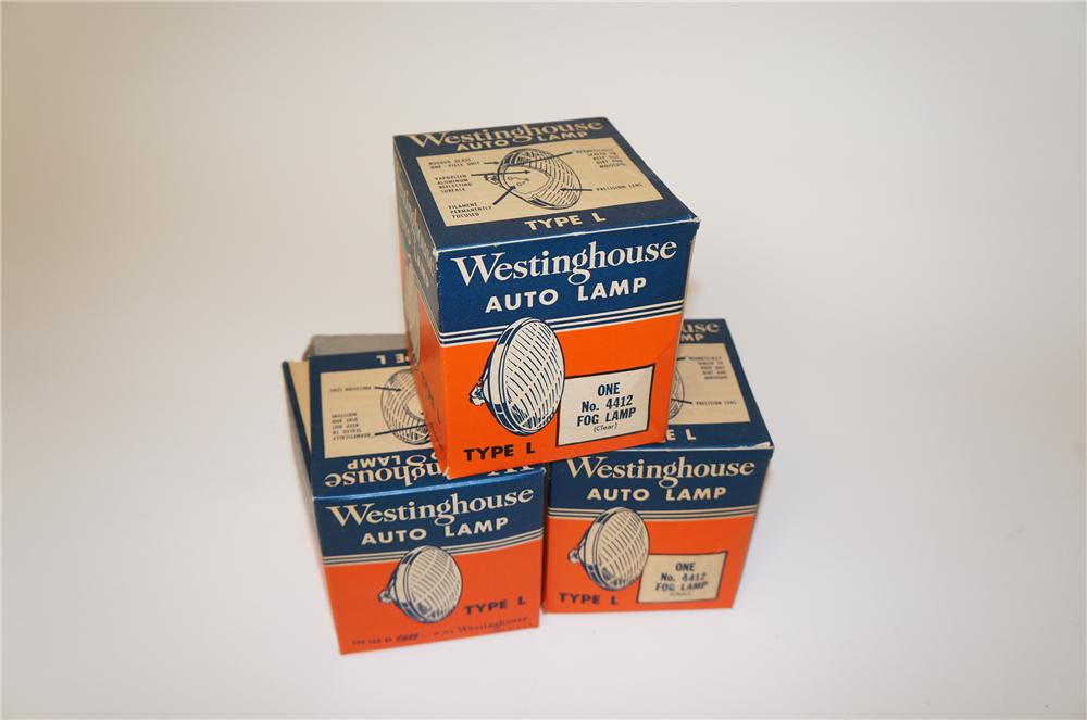 Choice lot of three N.O.S. Westinghouse Automotive Lamps still in the original display boxes.  Never used. - Front 3/4 - 139668