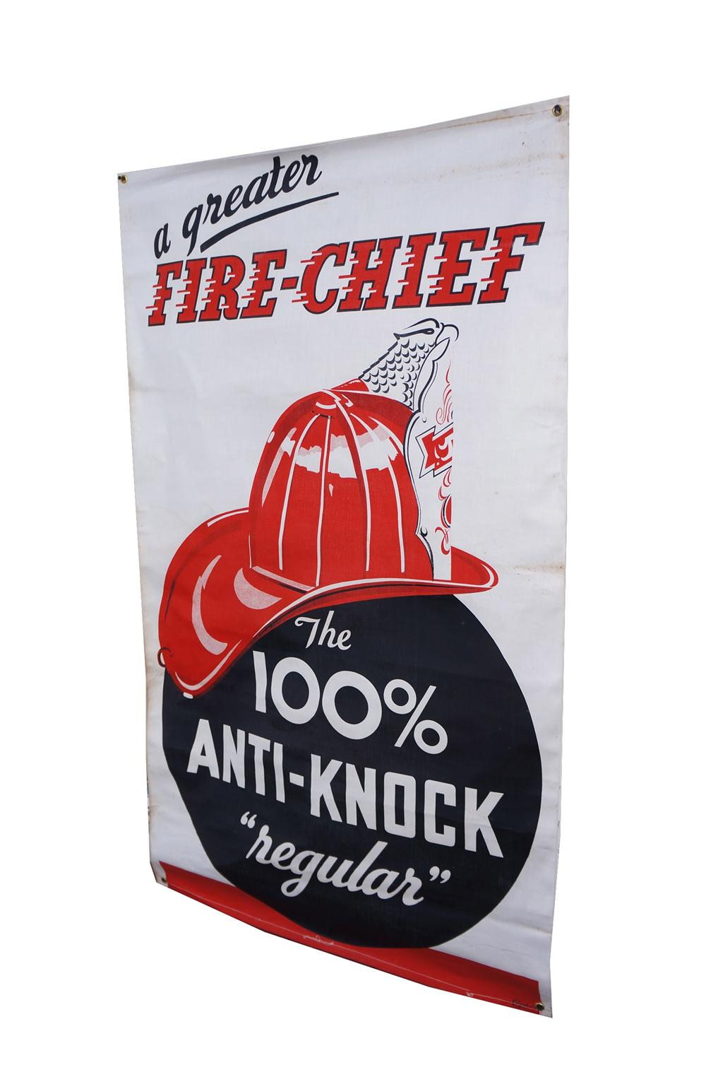 """1940s Texaco Fire Chief Gasoline """"The 100% Anti-Knock Regular"""" service station banner with nice Fire Chief logo. - Front 3/4 - 139669"""