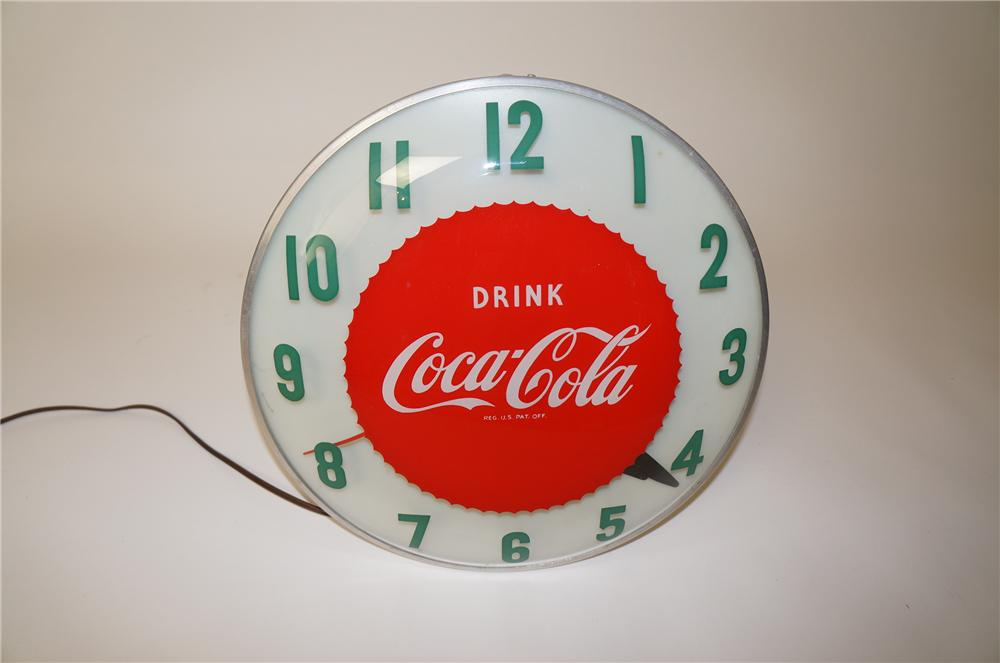 Unusual version 1950s Coca-Cola soda fountain diner clock found in pristine condition. - Front 3/4 - 139670
