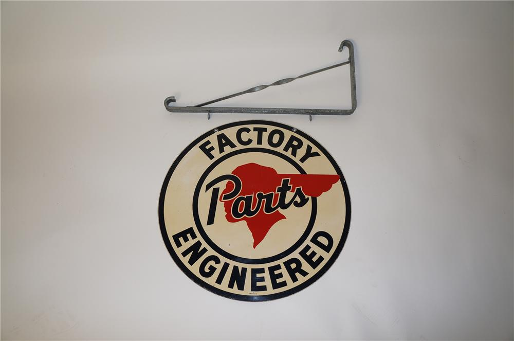 1940s Pontiac Factory Engineered Parts double-sided tin painted dealership sign with hanging bracket. - Front 3/4 - 139675