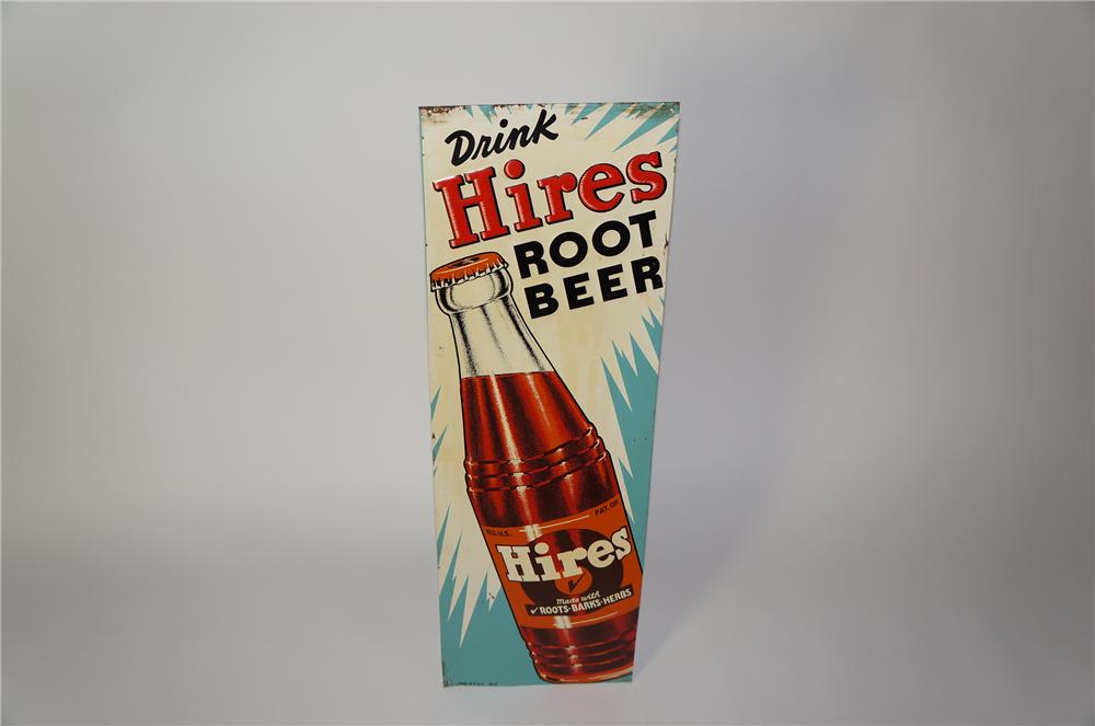 Sharp 1950s Drink Hires Root Beer vertical embossed tin sign with killer bottle graphic. - Front 3/4 - 139683