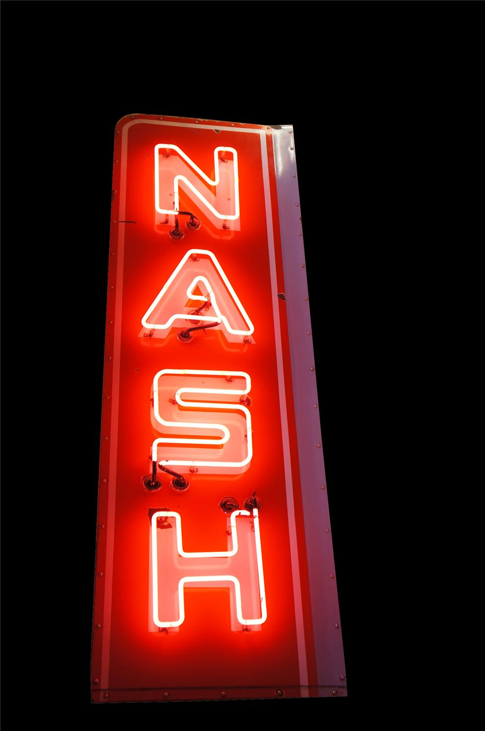 Outstanding 1940s-50s Nash Automobiles single-sided neon porcelain vertical dealership sign.  Lights brilliantly. - Front 3/4 - 139684