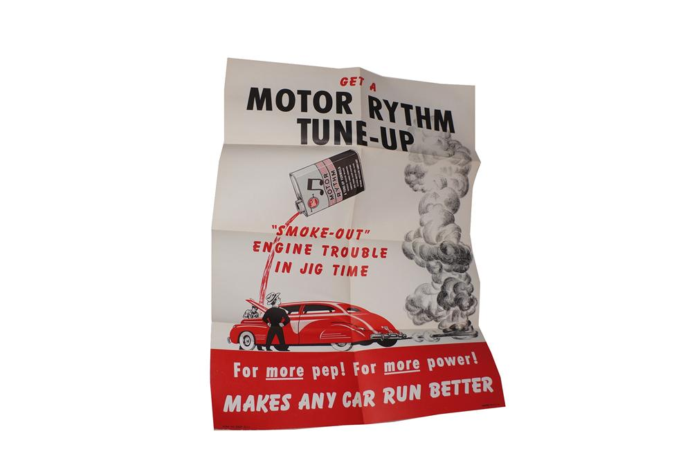 N.O.S. 1940s Whiz Motor Rhythm Motor Tune Up service station poster. - Front 3/4 - 139685