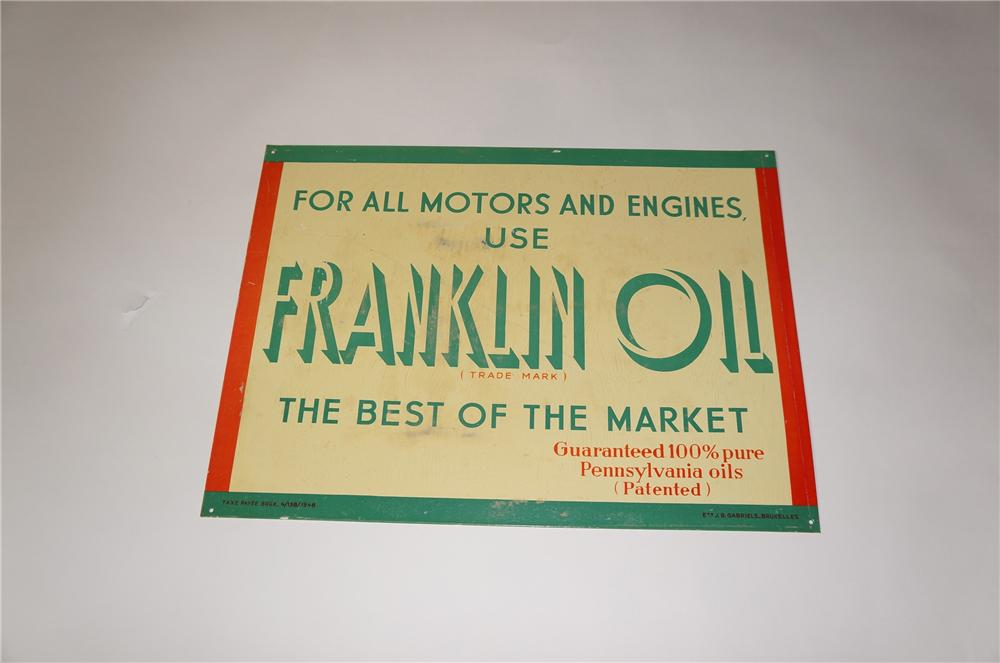 N.O.S. 1948 Franklin Motor Oil single-sided tin painted garage sign. - Front 3/4 - 139686
