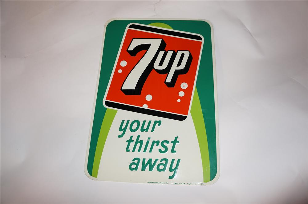 N.O.S. 1964 7-up Your Thirst Away embossed tin sign. - Front 3/4 - 139691