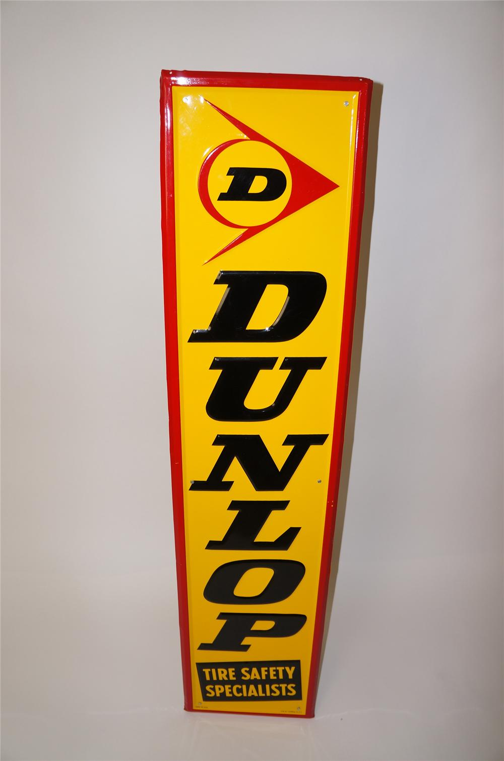 """N.O.S. Dunlop Tires """"Tire Safety Specialists"""" vertical embossed tin garage sign. - Front 3/4 - 139699"""