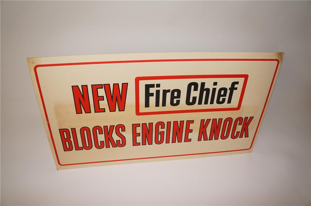 "N.O.S. 1960s Texaco Fire Chief ""Blocks Engine Knock"" service station dipslay cardboard sign. - Front 3/4 - 139701"