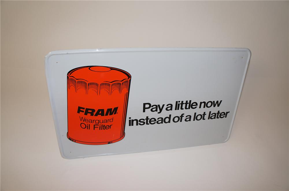 Fram Oil Filters Wear Guard single-sided tin painted automotive garage sign. - Front 3/4 - 139703