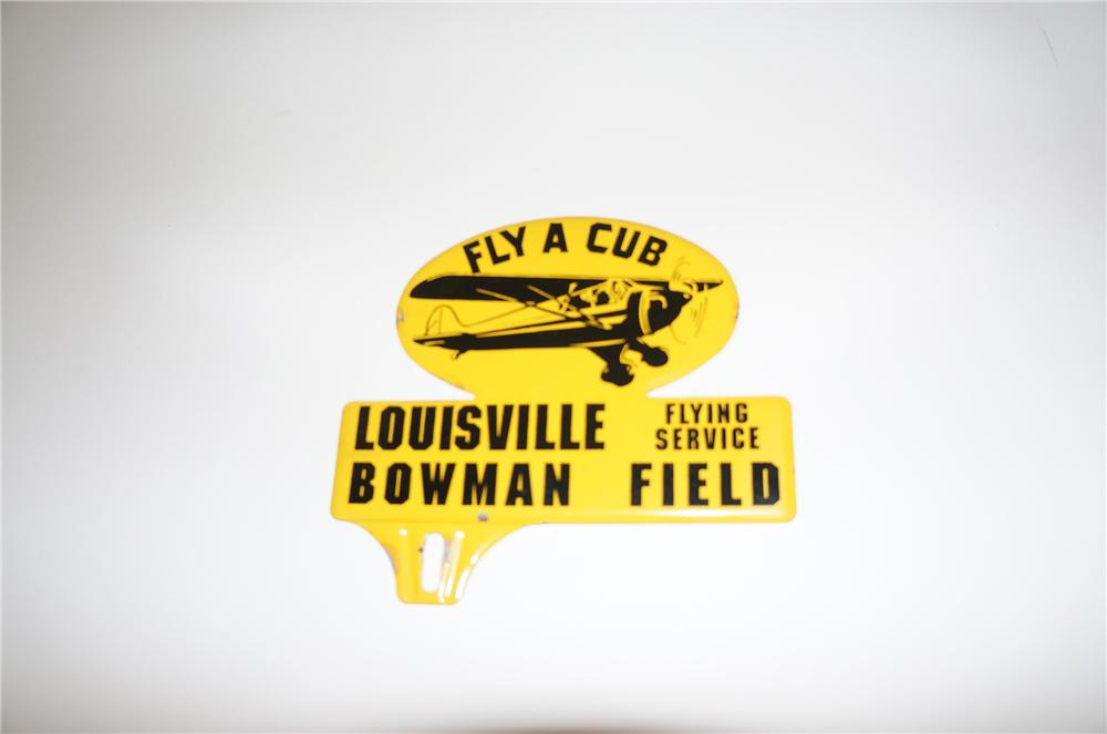 "Rare 1940s Flying A Cub ""Louisville Flying Service"" tin license plate attachment sign.  Killer graphics! - Front 3/4 - 139707"