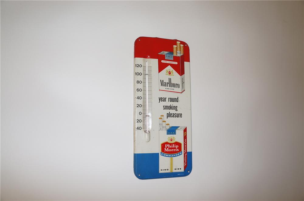 1950-60s Marlboro-Phillip Morris vertical tin painted general store thermometer with cigarette pack graphics. - Front 3/4 - 139708