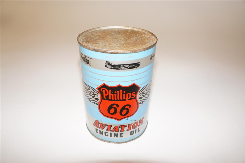 Fantastic 1950s Philip 66 Aviation Engine Oil metal quart can with nice winged graphics. - Front 3/4 - 139709