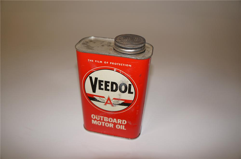 Choice 1940s Veedol Flying A Outboard Motor Oil tin. - Front 3/4 - 139712