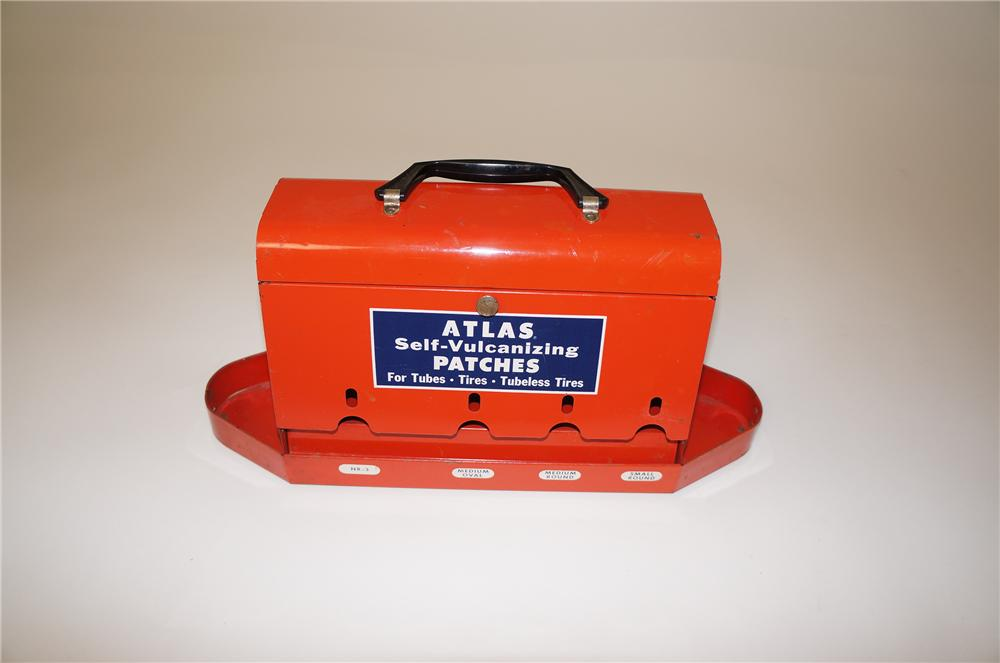 "Fabulous 1940s-50s Standard Oil ""Atlas Self-Vulcanizing Tire Patches"" service department display caddy. - Front 3/4 - 139713"