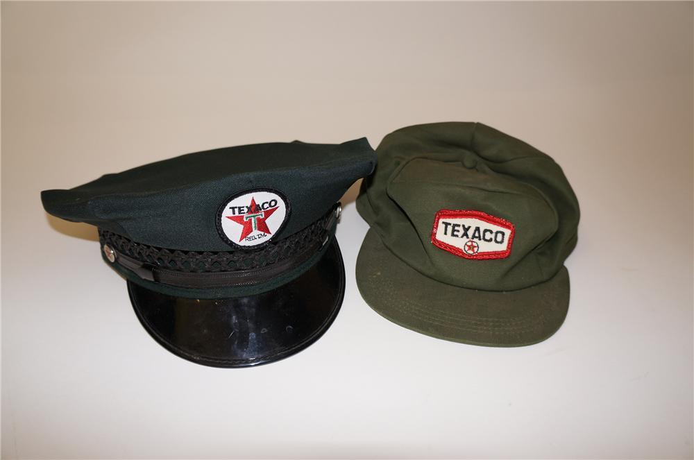Lot of two vintage Texaco Oil service station attendant hats circa 1940s-50s. - Front 3/4 - 139720