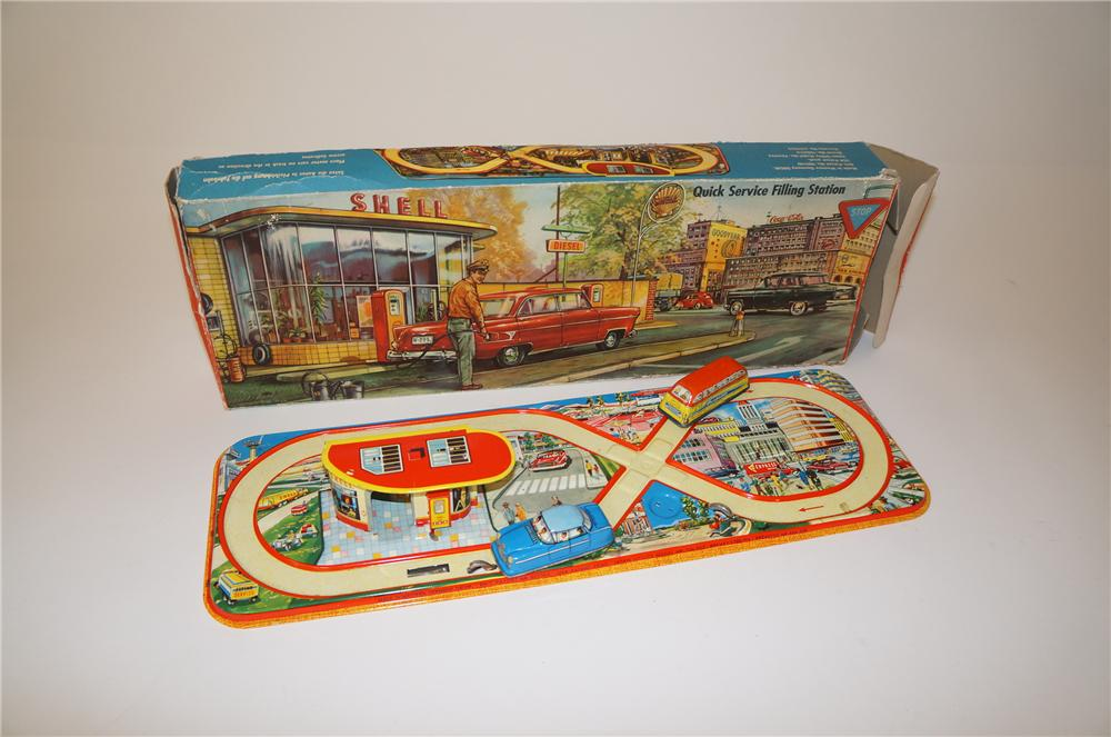 Late 1950s Shell Oil promotional tin station with friction drive cars. Still in the original box! - Front 3/4 - 139723