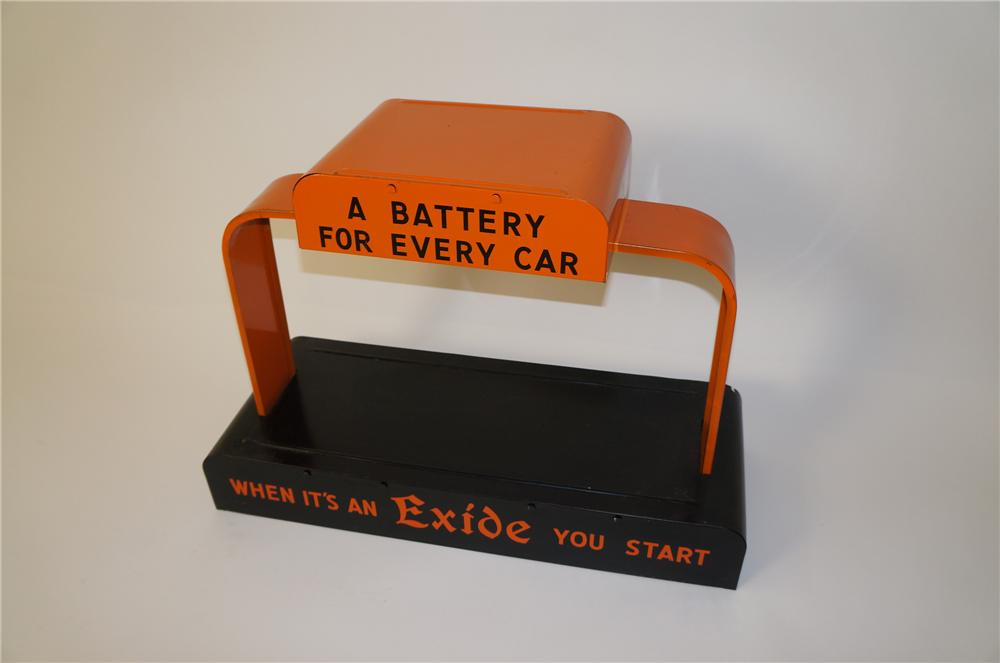 Choice 1940s Exice Batteries automotive garages metal counter-top battery display. - Front 3/4 - 139726