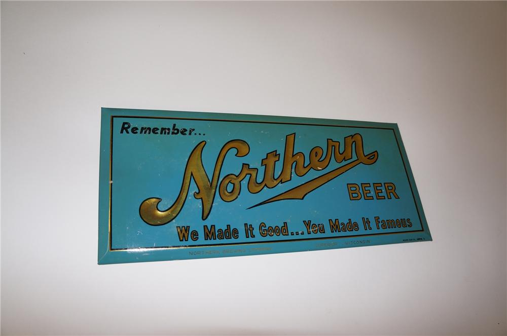 N.O.S. 1940s Northern Beer embossed celluloid tavern sign. - Front 3/4 - 139727