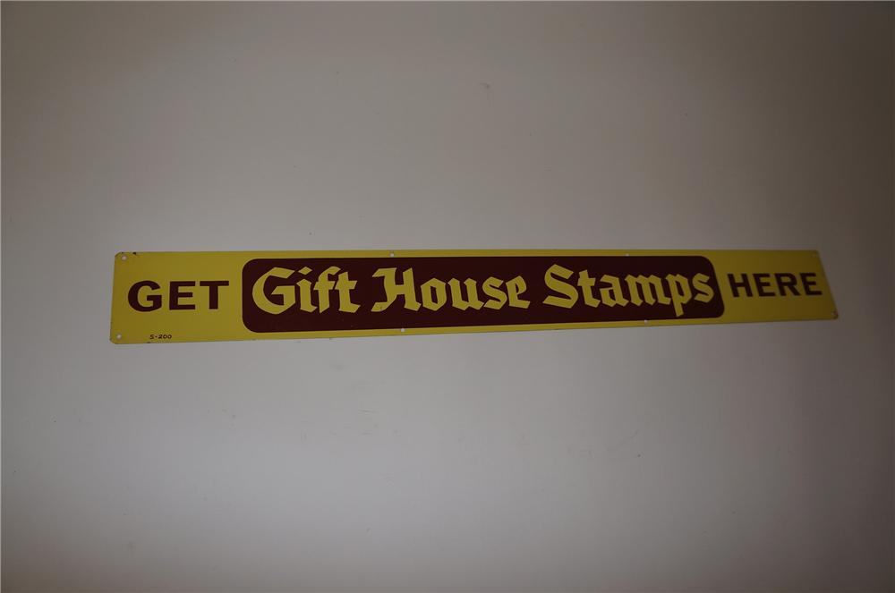 "N.O.S. 1950s""Get Gift House Stamps Here"" service station tin sign. - Front 3/4 - 139728"