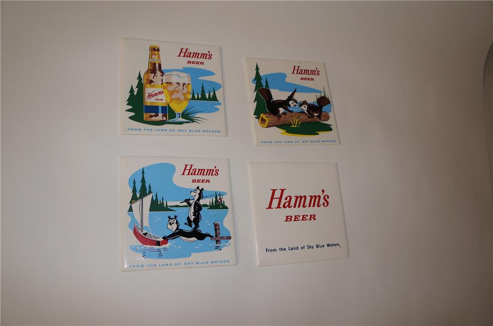 Lot of four 1950s-60s Hamms Beer tavern tile signs. - Front 3/4 - 139729