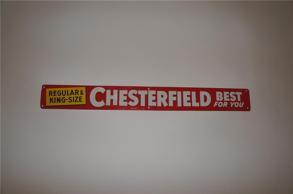 "N.O.S. 1950s Chesterfield Cigarettres ""Best for You"" single-sided tin sign. - Front 3/4 - 139730"