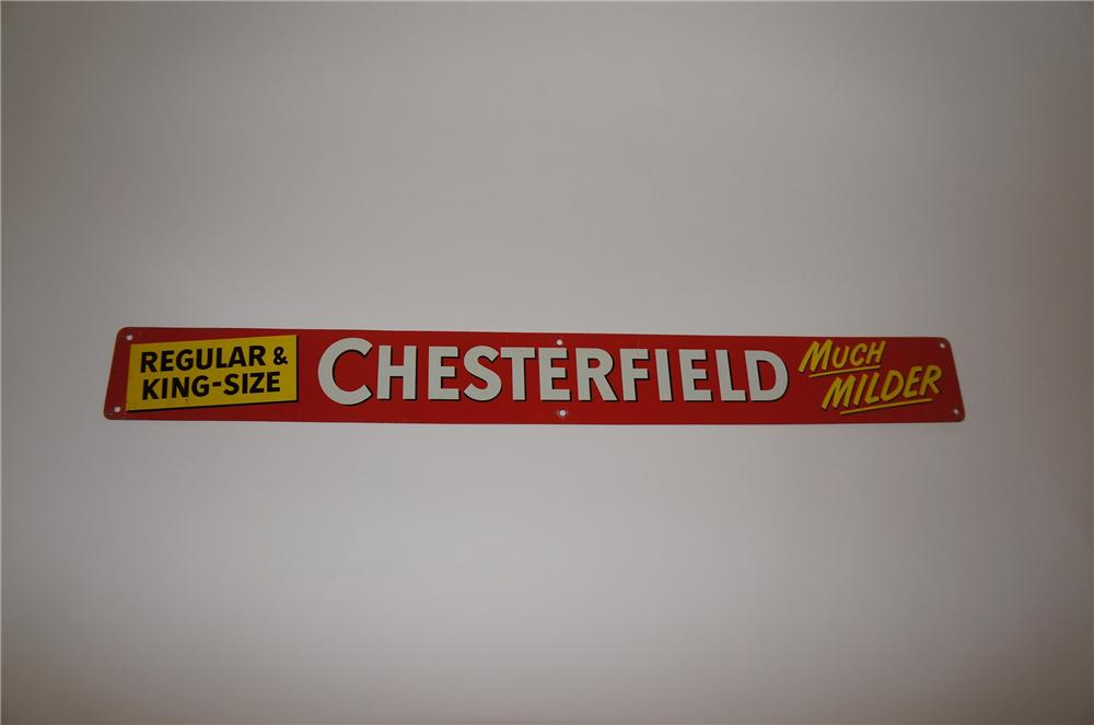 "N.O.S. 1950s Chesterfield Cigarettres ""Much Milder"" single-sided tin sign. - Front 3/4 - 139731"