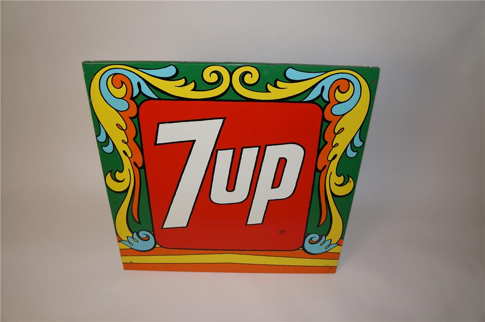 Unusual 1960s 7-up wood framed tin painted logo sign with Peter Max-esque styling. - Front 3/4 - 139734