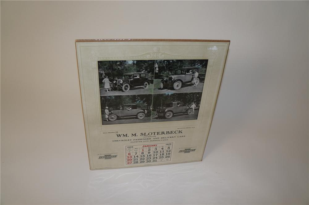 Museum quality 1929 Chevrolet Automotive garage calendar from Pennsylvania with period coupe/sedans depicted. - Front 3/4 - 139736