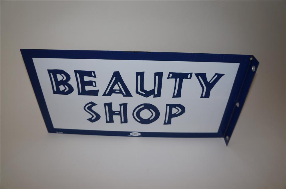 N.O.S. late 1950s Beauty Shop double-sided porcelain flange sign. - Front 3/4 - 139739