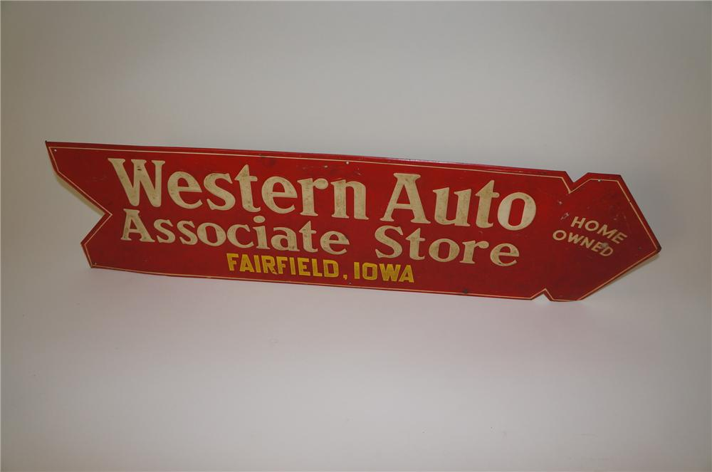 1930s Western Auto Associate Store die-cut tin arrow shaped sign. - Front 3/4 - 139740