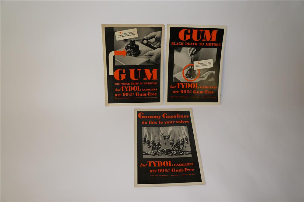 "Lot of three 1930s Tydol ""Gum-Black Death"" service station display cardboard signs. - Front 3/4 - 139741"