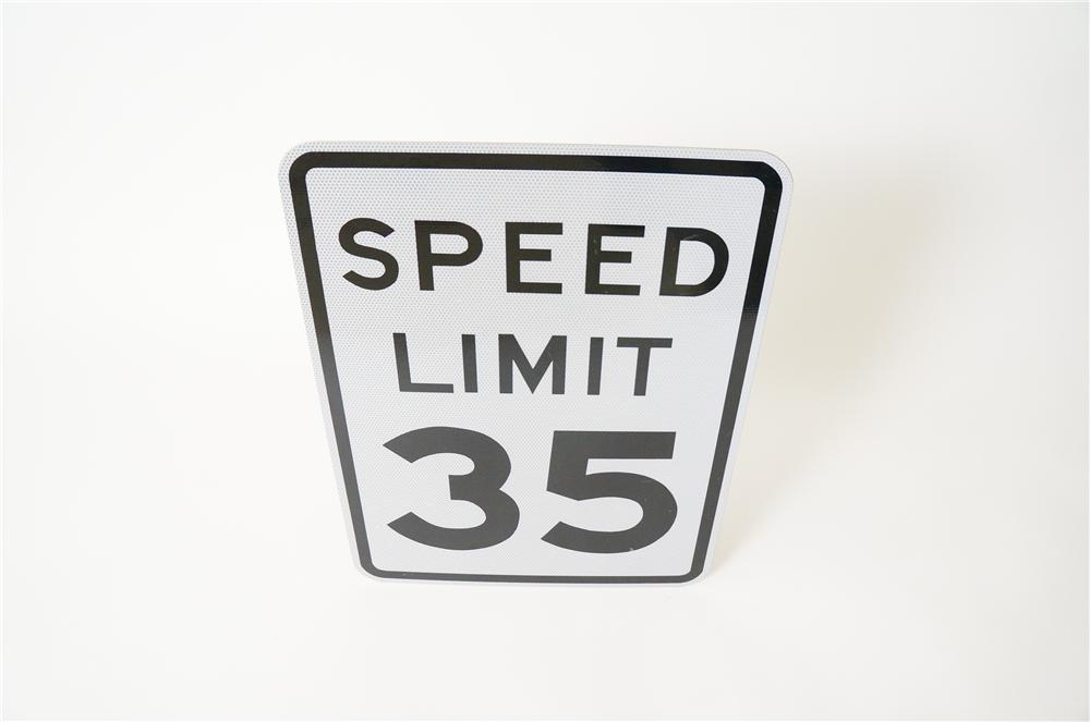Speed Limit 35 metal highway road sign never used. - Front 3/4 - 139742