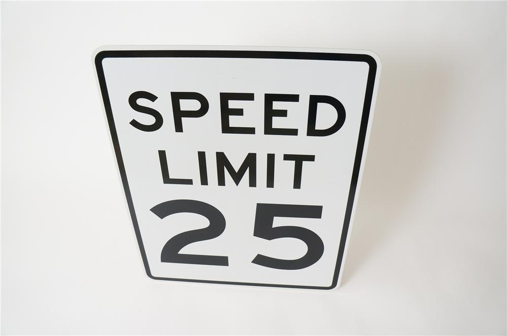 Speed Limit 25 metal highway road sign never used. - Front 3/4 - 139743