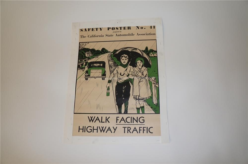 """1930s California Safety Lesson """"Walk Facing Highway Traffic"""" paper poster with nice graphics. - Front 3/4 - 139748"""