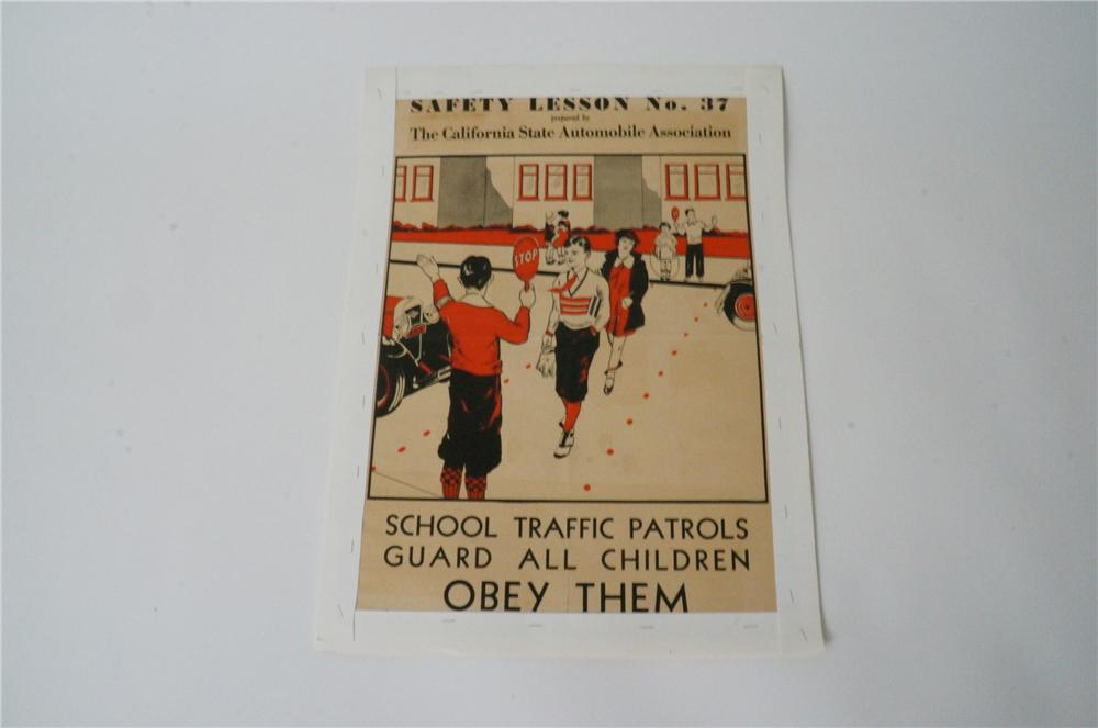 "1930s California Safety Lesson ""Obey School Traffic Patrols"" paper poster with period graphics. - Front 3/4 - 139749"