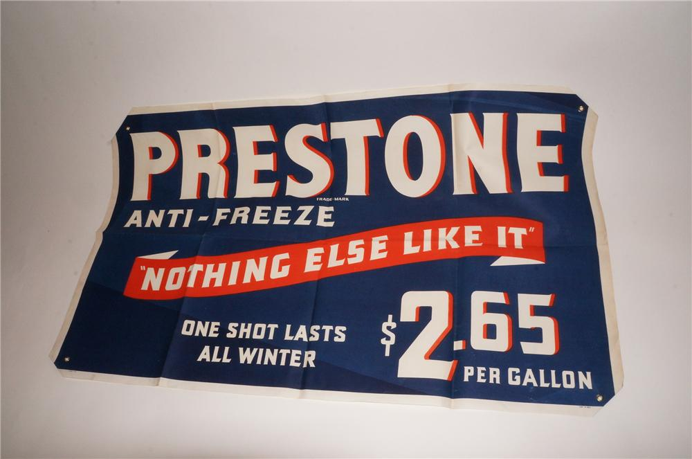 Fabulous N.O.S. 1930s-40s Prestone Anti-Freeze service station canvas banner. Found unused after 70+ years! - Front 3/4 - 139751