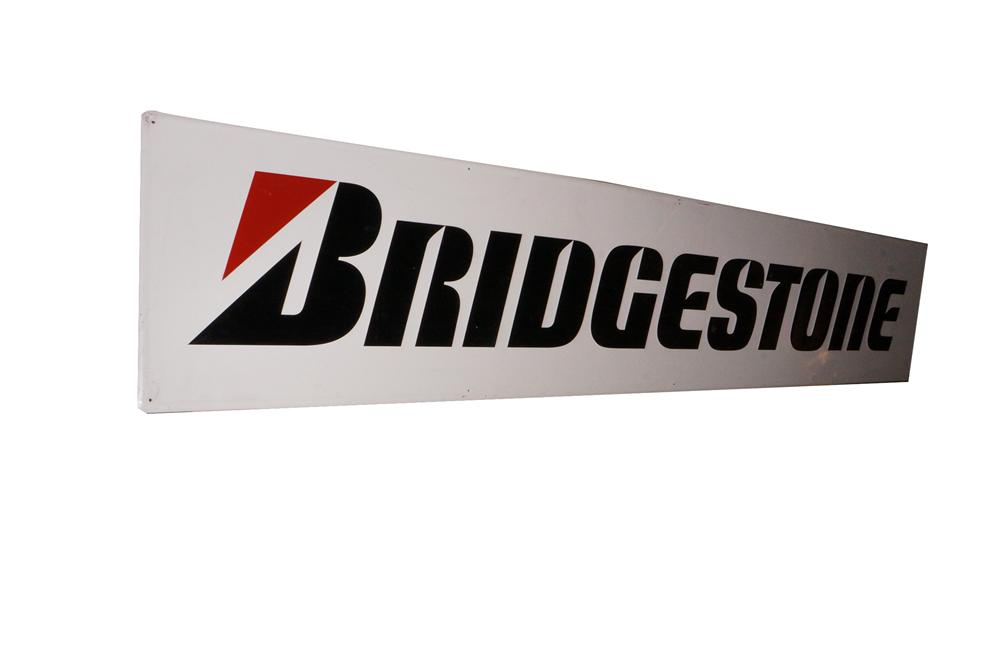 Large Bridgestone Tires horizontal tin automotive garage sign. - Front 3/4 - 139757